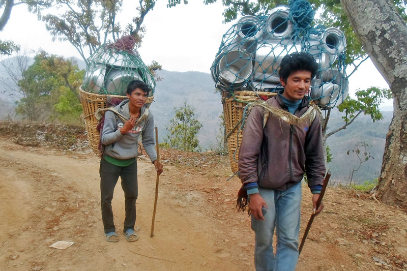 Vendors heading to villages in Sindhuli district to see their products, on Thursday, August 10, 2017. Photo: RSS