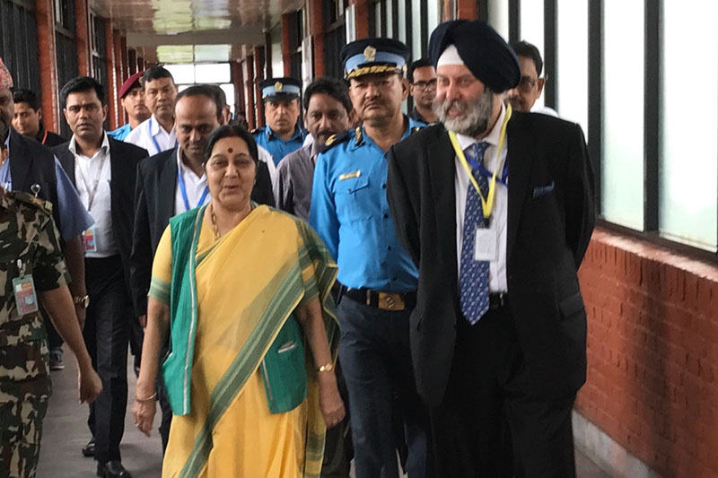 Indian Ambassador to Nepal Manjeev Singh Puri (right) among other officials receive Indiau2019s External Affairs Minister Sushma Swaraj who arrives at Tribhuvan International Airport in Kathmandu on Thursday, August 10, 2017. Swaraj is scheduled to attend 15th BIMSTEC Ministerial Meeting in Kathmandu. Photo: Indian Embassy