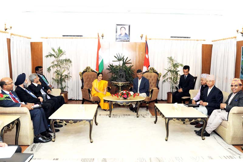 Visiting Indian External Affairs Minister Sushma Swaraj calls on Prime Minister Sher Bahadur Deuba at the latter's office in Baluwatar, on Thursday, August 10, 2017. Photo: Indian Embassy in Nepal