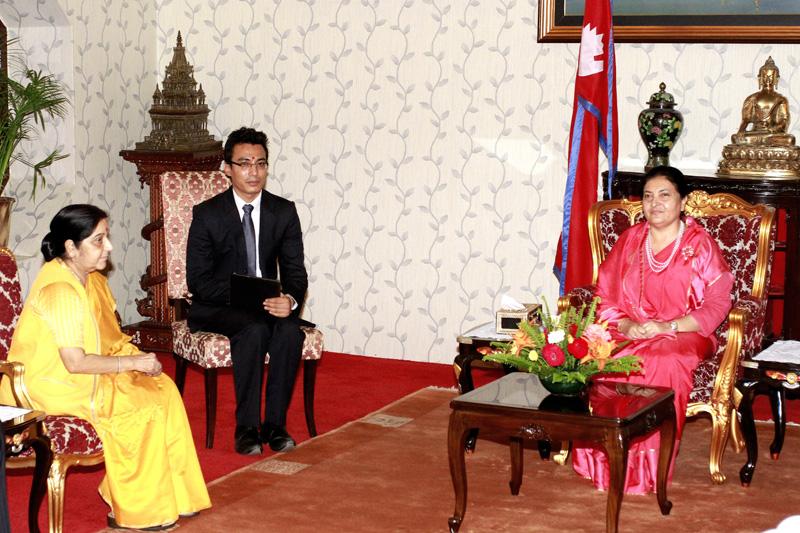 Visiting Indian External Affairs Minister Sushma Swaraj calls on President Bidya Devi Bhandari at the latter's office in Sheetal Niwas, Kathmandu, on Thursday, Aogust 10, 2017. Photo: President's Office