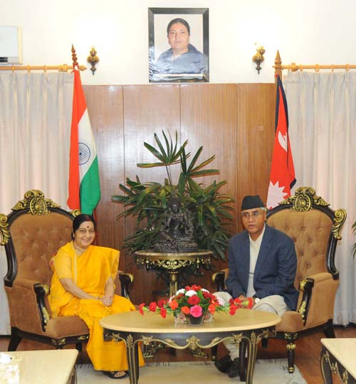 Visiting External Affairs Minister of India Sushma Swaraj calls on Prime Minister Sher Bahadur Deuba in Baluwatar, on Thursday, August 10, 2017. Photo Courtesy: Indian Embassy