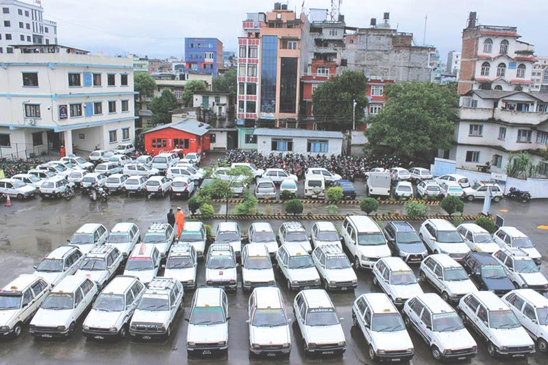 FILE: Taxis without fare-meters detained for action at Metropolitan Traffic Police Division, in Kathmandu, on Sunday, August 13, 2017. Photo: THT