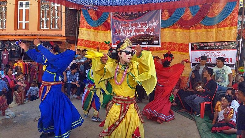 Artists performing traditional Taya Macha Dance of Newar Community, in Dumre Bazaar of Tanahun district, on Saturday, August 26, 2017. Photo: Madan Wagle