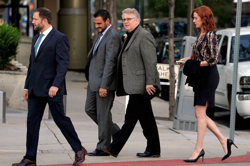 Taylor Swift publicist Tree Paine (R) arrives at Denver Federal Court where the Taylor Swift groping trial was to resume in Denver, US, August 9, 2017. Photo: Reuters