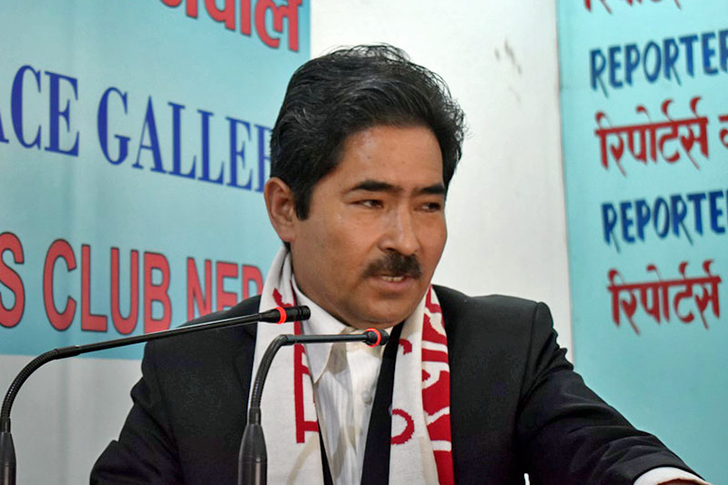 Minister for General Administration Tek Bahadur Basnet speaks at a programme in Kathmandu, on Monday, August 7, 2017. Courtesy: Reporters Club