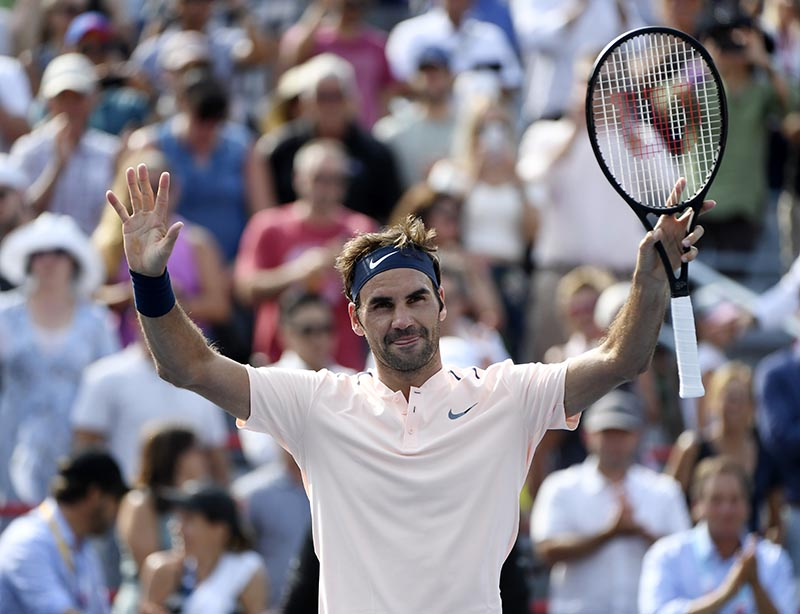 Roger Federer of Switzerland reacts after defeating Roberto Bautista Agut of Spain (not pictured) during the Rogers Cup tennis tournament at Uniprix Stadium, in Montreal, Quebec, Canada, on Aug 11, 2017. Photo: Eric Bolte-USA TODAY Sports via Reuters