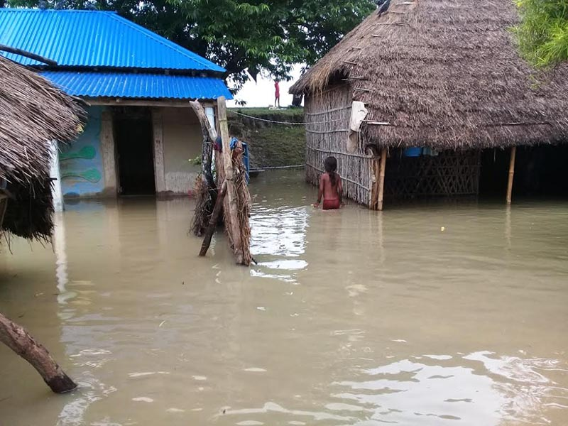 A view of an inundated settlement at Tilathi Koiladi Rural Municipality, in Saptari, on Friday, August 11, 2017. Photo: THT