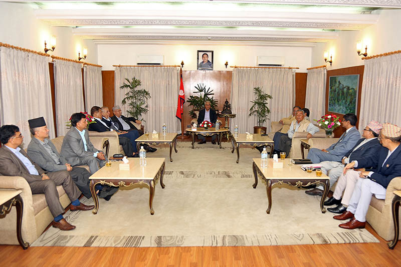 Leaders of top three policial parties holding discussions with Election Commissioners at PM's official residence in Baluwatat, Kathmandu, on Thursday, August 17, 2017. Photo: RSS