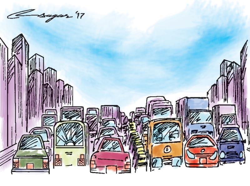 Traffic congestion. Illustration: Ratna Sagar Shrestha/THT