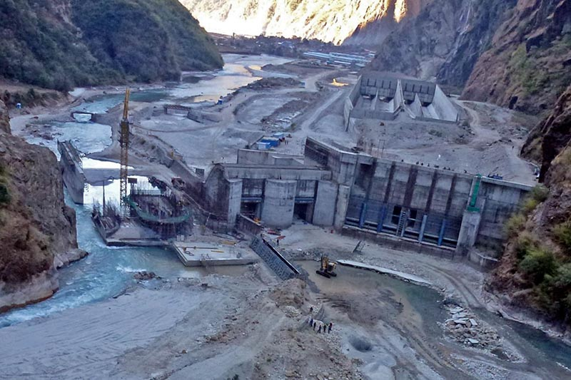 The Under-construction dam site of 456 megawatt Upper Tamakoshi Hydro project at Lamabagar in Dolakha, on August 19, 2017. Photo: RSS/File
