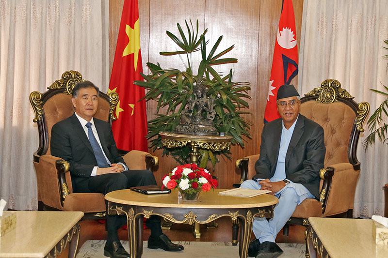 Visiting Chinese Vice Premier Wang Yang calls on PM Sher Bahadur Dueba at latter's official residence in Baluwatar, on Wednesday, August 16, 2017. Photo: RSS