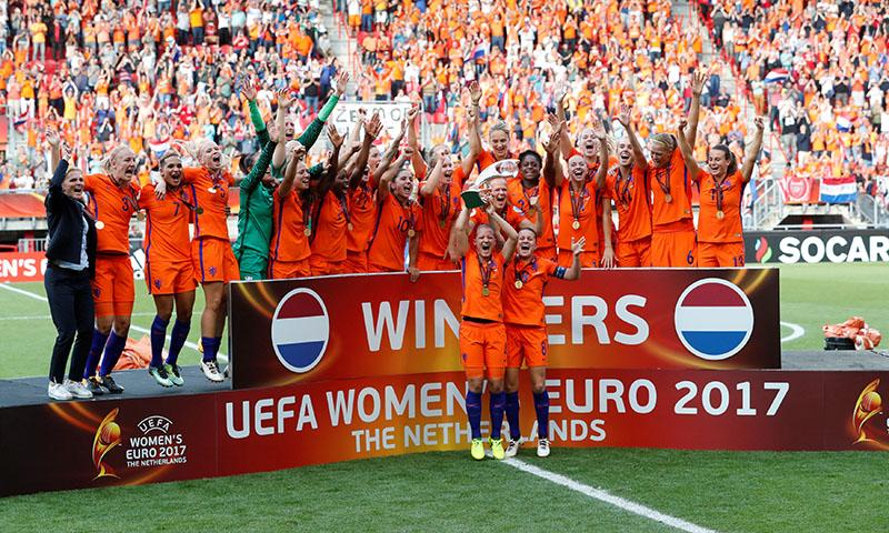 Netherlands celebrate winning the Women's Euro 2017 Final. Photo: Reuters