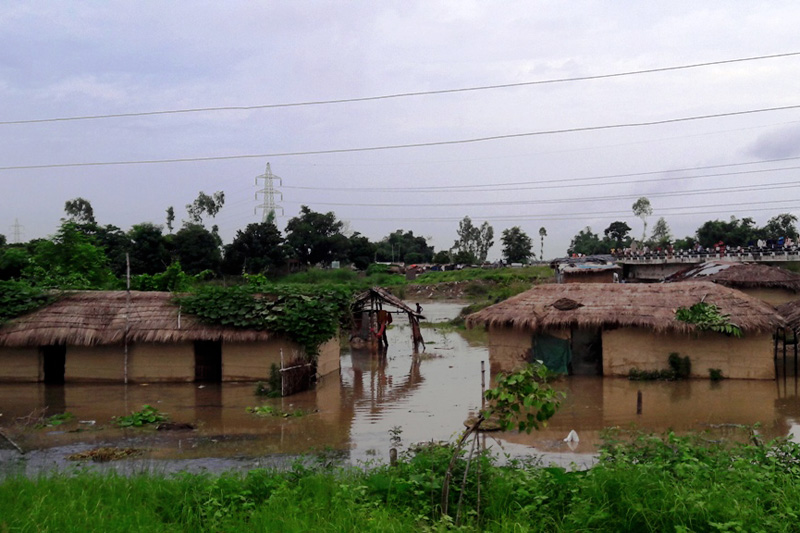 Several houses inundated in Bara floods, on Saturday, August 12, 2017. Photo: Pushpa Raj Khatiwada