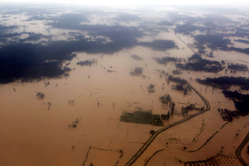 An aerial view of flooded land is seen at Dhanusha District, Sunday, August 13, 2017. Photo: AP