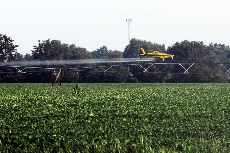 A crop duster sprays a field in Charleston, Missouri, US, August 20, 2017. Photo: Reuters