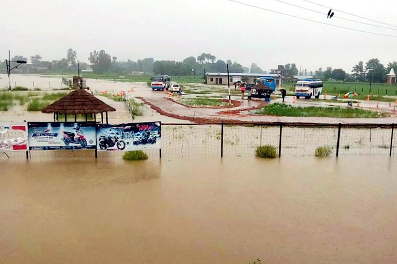 A view of the Narayani Transport Office after monsoon floods in Birgunj, on Saturday, August 12, 2017. Photo: Ram Sarraf