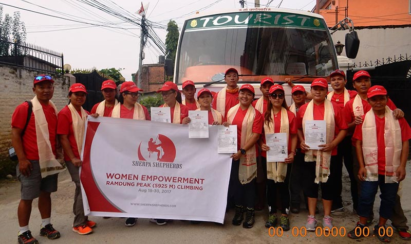 The team of Women Empowerment expedition pose for a photograph before heading for the Ramdung Peak in upper Rolwaling region.