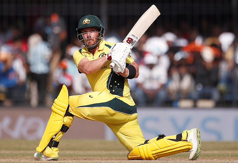 Australia's Aaron Finch plays a shot. Photo: Reuters