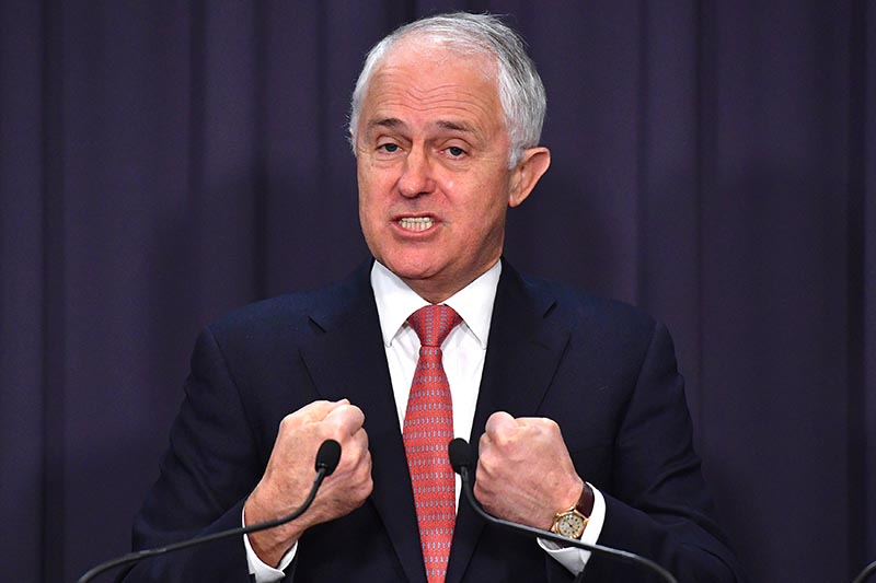 Prime Minister Malcolm Turnbull reacts during a media conference at Parliament House in Canberra, Australia, on August 18, 2017. Photo: AAP/Mick Tsikas/via Reuters