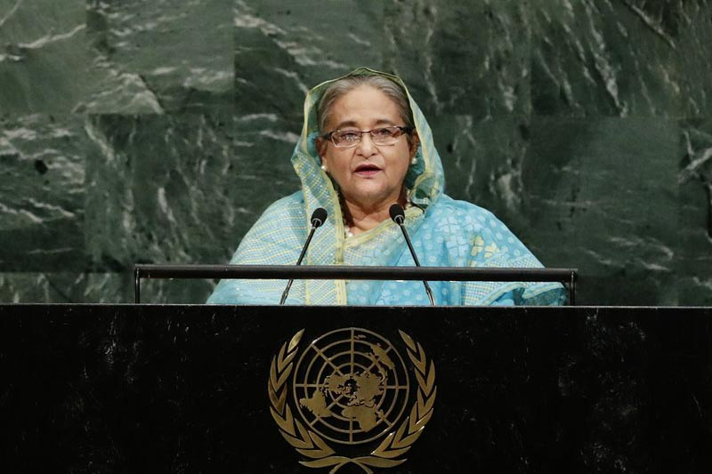 Bangladesh Prime Minister Sheikh Hasina addresses the United Nations General Assembly, at the UN headquarters, on Thursday, September 21, 2017, . Photo: AP