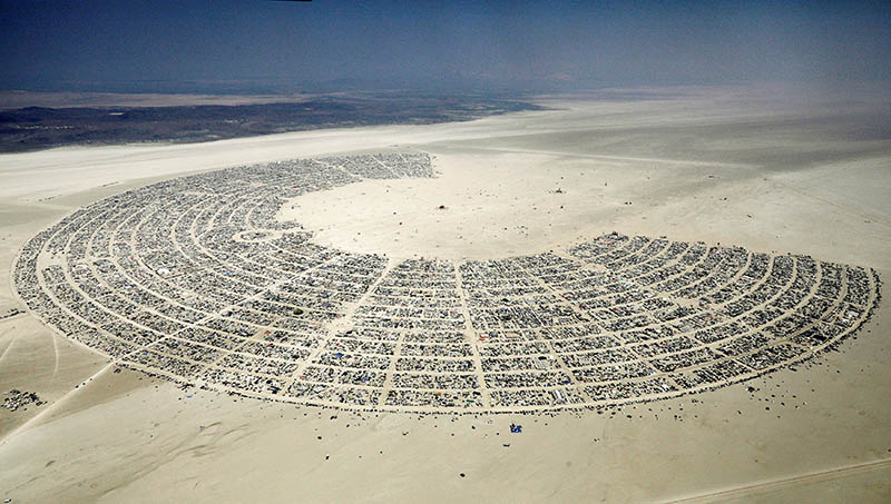 Black Rock City, a gathering of approximately 70,000 people that is created annually for the Burning Man arts and music festival, is seen in the Black Rock Desert of Nevada, US, on September 1, 2017. Photo: Reuters