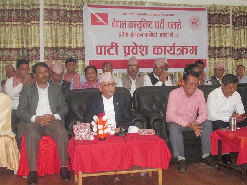 CPN-UML Chairperson KP Sharma Oli addressing a programme in Pokhara, Kaski, on Friday, September 1, 2017. Photo: THT