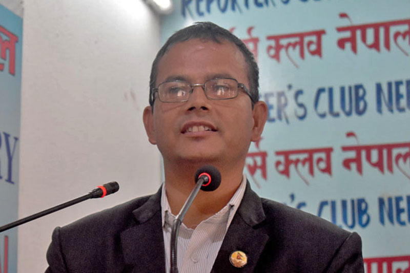 The Public Accounts Committee Chairman Dor Prasad Upadhyay speaking at an interaction programme in kathmandu, on Friday, September 22, 2017. Courtesy: Reporters Club