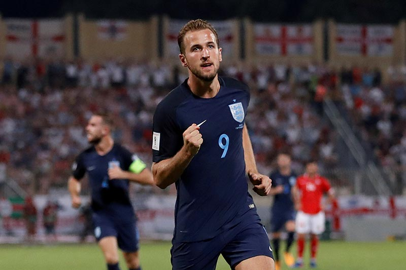 Englandu2019s Harry Kane celebrates scoring their first goal in 2018 World Cup Europe Qualifications match between Malta and England, in Ta' Qali, Malta, on September 1,  2017. Photo: Reuters