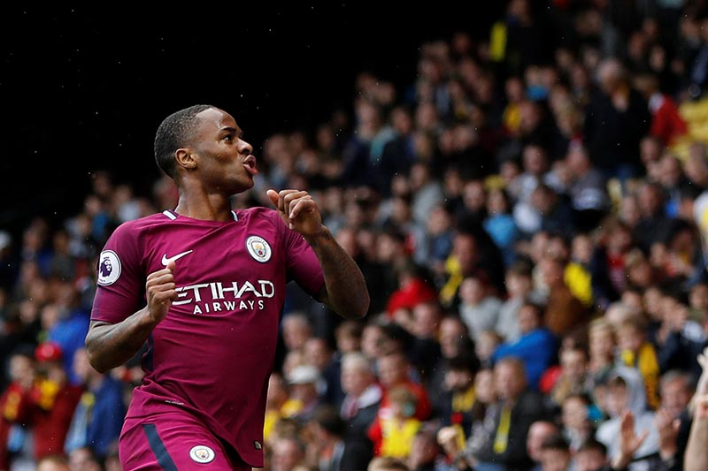Manchester City's Raheem Sterling celebrates scoring their sixth goal during the Premier League match between Watford and Manchester City, in Vicarage Road, Watford, Britain, on September 16, 2017. Photo: Reuters