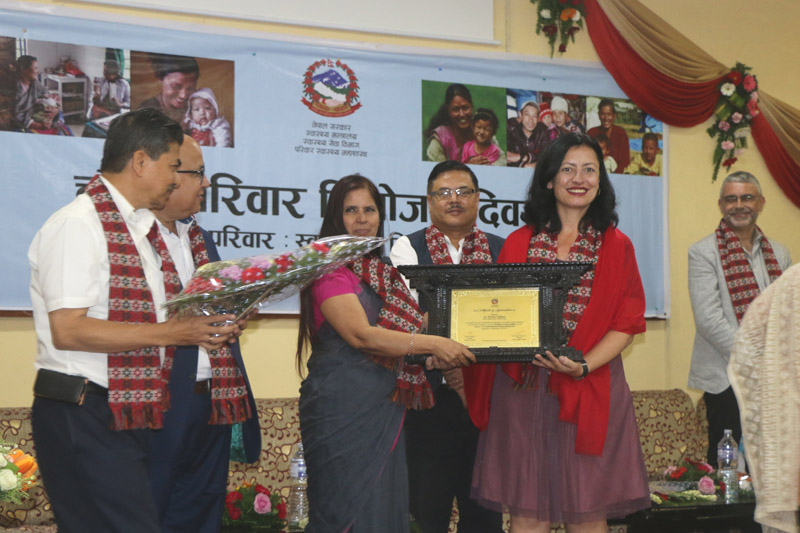 Health Ministry Secretary and top government officials at an event organized by the government on the occasion of the Fourth National Family Planning, in Kathmandu, on Monday, September 18, 2017. Photo: THT Online