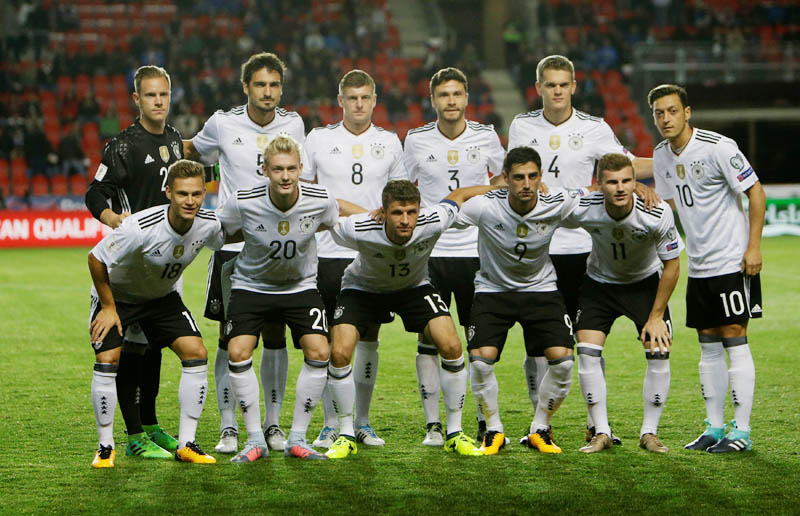Germany players pose for the pre match photograph. Photo: Reuters