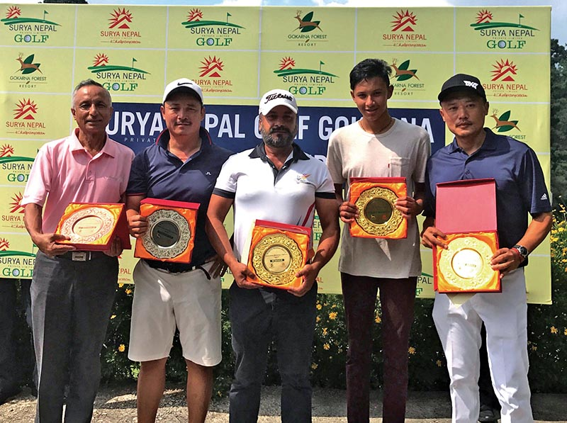 Winners of the seventh edition of the Surya Nepal Gokarna Monthly Medal at the Gokarna Golf Club in Kathmandu on Saturday. Photo: THT