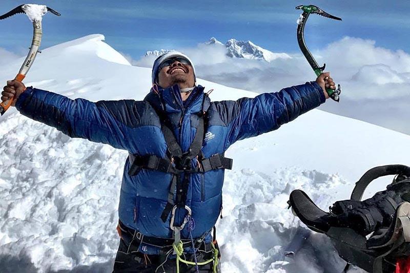 Hari Budha Magar at Mera Peak summit. Courtesy Hari Budha Magar