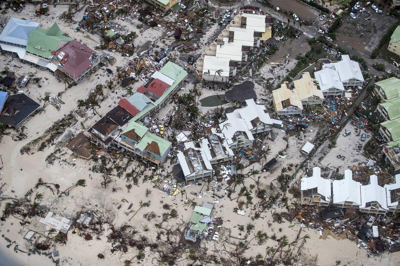 This September 6, 2017 photo provided by the Dutch Defense Ministry shows storm damage in the aftermath of Hurricane Irma, in St Maarten. Photo: AP