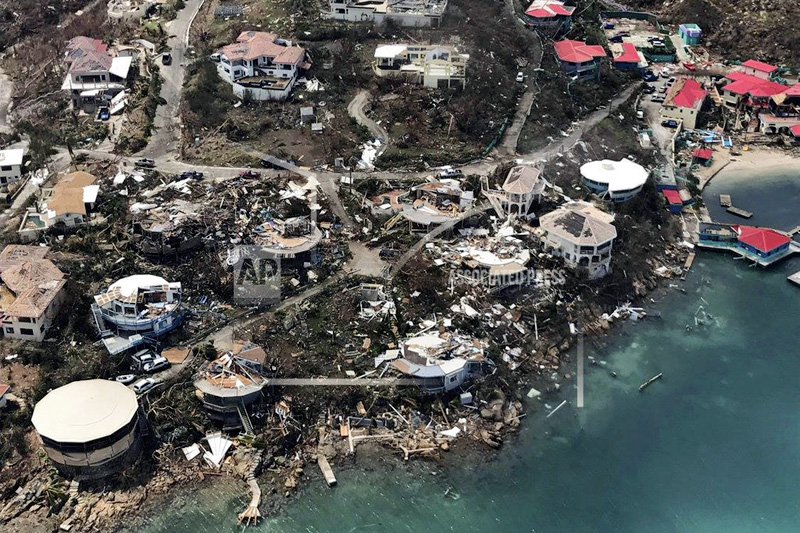 This photo provided by Caribbean Buzz shows the destruction left in the wake of Hurricane Irma Friday, Sept 8, 2017, in the US, Virgin Island. Photo: AP