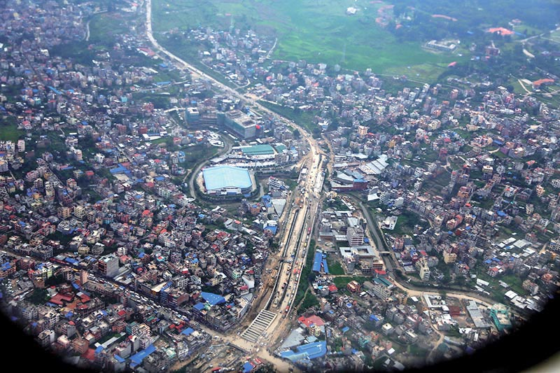 An aerial view of congested buildings in Kalanki area, Kathmandu, on Friday, September 1, 2017.  Haphazard construction of houses has left very few open spaces in the Valley. Photo: RSS