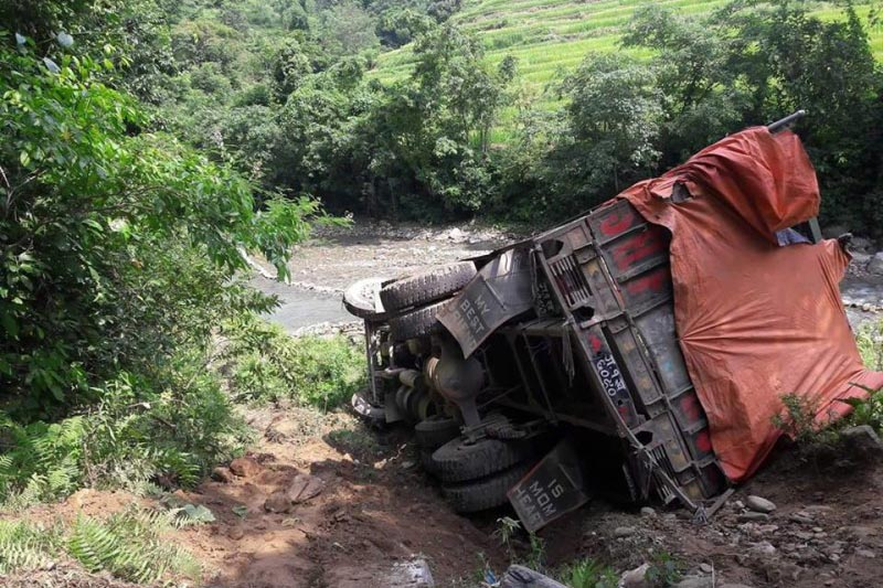 The truck that skidded off the road near Pisti River in Bhorletar, Lamjung district, on Friday, September 8, 2017. Photo courtsey: Saroj Paudel