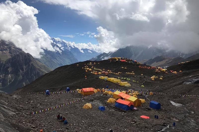 A view of Manaslu Base Camp with the mountain peak above the clouds, on Monday, September 18, 2017. Photo courtesy: Arnold Coster