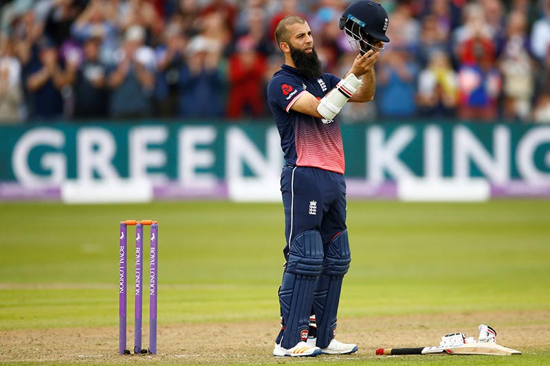 England's Moeen Ali celebrates his century during the third one day international match between England and West indies, at Brightside Ground, in Bristol, Britain, on September 24, 2017. Photo: Action Images via Reuters