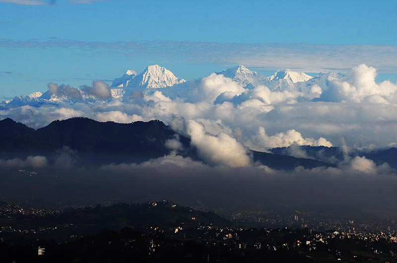 Monsoon clouds blanketing the hills and snow-capped mountain peaks surrounding Kathmandu Valley, on Friday, September 1, 2017. Photo: Balkrishna Thapa Chhetri/THT