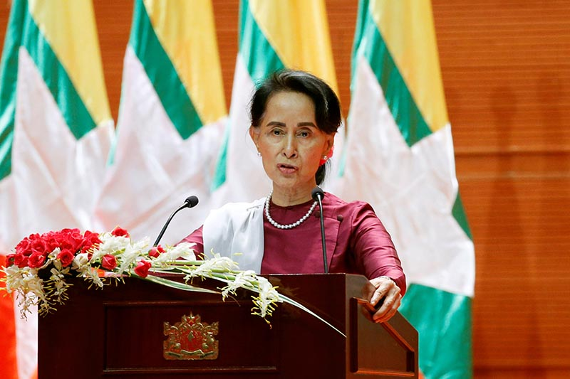 Myanmar State Counselor Aung San Suu Kyi delivers a speech to the nation over Rakhine and Rohingya situation, in Naypyitaw, Myanmar, September 19, 2017. Photo: Reuters