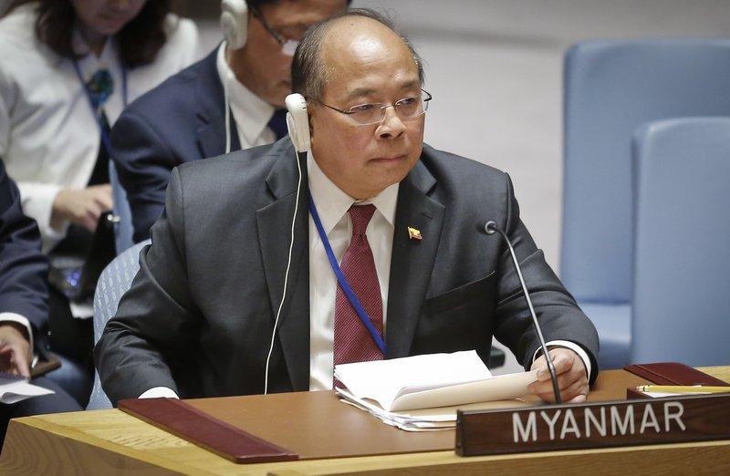 Myanmar Security Advisor U Thaung Tun listens during UN Security Council meeting on Myanmaru2019s Rohingya crisis, on Thursday September 28, 2017. Photo: AP