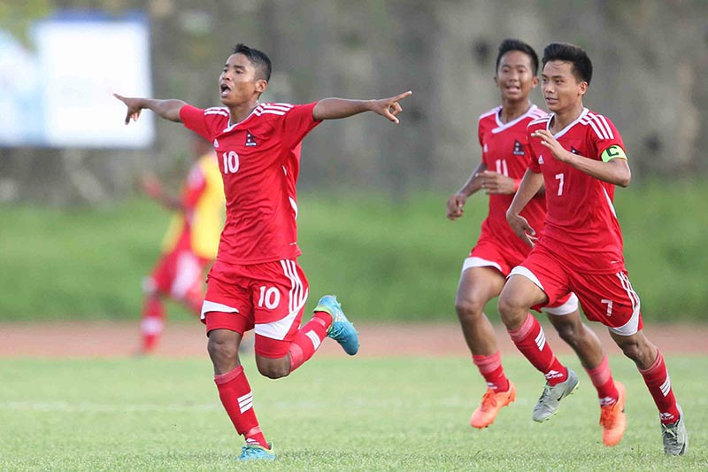 Nepalu2019s Birjesh Chaudhary (left) celebrates after scoring a goal against India during their AFC U-16 Championship Qualifiers Group D match in Kathmandu on Friday, September 22, 2017. Photo: Udipt Singh Chhetry/THT
