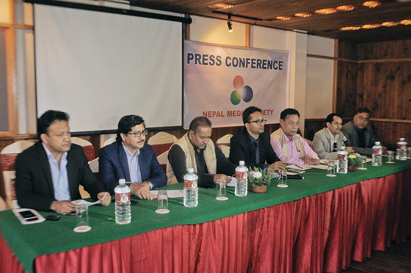 Members of Nepal Media Society participating in a press conference, in Kathmandu, on Wednesday, September 6, 2017. Photo: THT