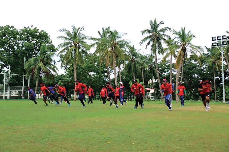 Nepal national cricket team members take part in a training session in Chennai on Monday. Photo Courtesy: Ram Shiwakoti