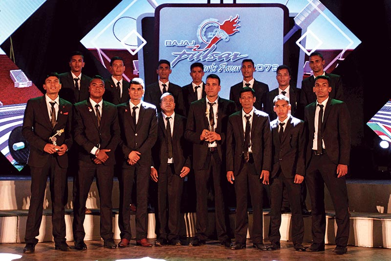 Nepal national volleyball team members after receiving the Team of the Year Award, in Kathmandu, on Monday, September 11, 2017. Photo: Udipt Singh Chhetry