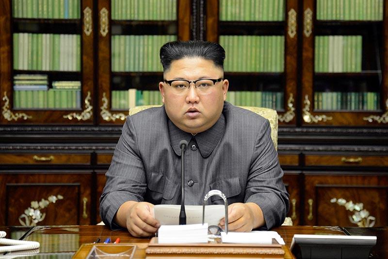 North Korea's leader Kim Jong Un makes a statement regarding US President Donald Trump's speech at the UN general assembly, in Pyongyang, on September 22, 2017. Photo: KCNA via Reuters