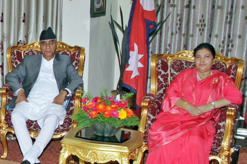 PM Sher Bahadur Deuba calls on President Bidya Devi Bhandari, on Tuesday, September 5, 2017. Photo: RSS
