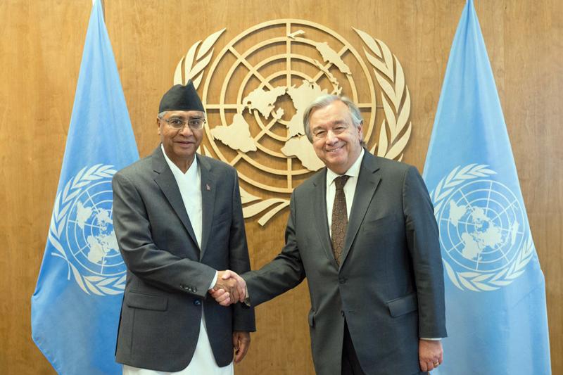Prime Minister Sher Bahadur Deuba meets UN Secretary-General Antonio Guteress at the UN, New York, USA, on Saturday, September 23, 2017. Courtesy: UN Photo/Rick Bajornas