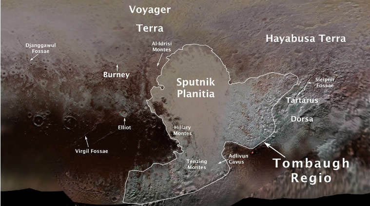 Plutou2019s first official surface-feature names are marked on this map, compiled from images and data gathered by NASAu2019s New Horizons spacecraft during its flight through the Pluto system in 2015. Courtesy: NASA/IAU